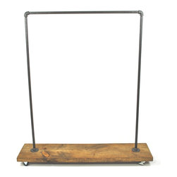 Edna Faye Creations - Urban Industrial Garment Clothing Rack - This garment rack is built from recycled iron piping and reclaimed wood.  It will add a touch of class to a loft, office, rustic style home decor or an industrial space.