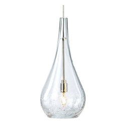 LBL Lighting - LBL Lighting Seguro Clear Monopoint 1 Light Track Pendant - LBL Lighting Seguro Clear Monopoint 1 Light Track PendantWith a beautifully organic teardrop shape, this gorgeous pendant features Clear crackled glass lit from within by an included 35 watt xenon bulb that perfectly brings out the delicate texture.Each Monopoint lighting fixture includes a single-point canopy with built-in transformer right out of the box for a quick and easy installation.LBL Lighting Seguro Clear Monopoint Features:
