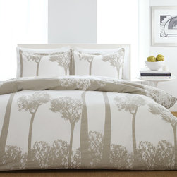 City Scene - City Scene Tree Top Comforter or Duvet Cover Set - Revitalize the look of your bedroom with this modern comforter or duvet cover set. Featuring a 100-percent cotton construction,it offers comfort and unrivaled durability. The set's tree silhouette design is sure to add something special to your decor.