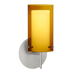 Besa Lighting - Pahu Satin Nickel One-Light Halogen Wall Sconce with Transparent Armagnac and Op - - The Trans-Armagnac colored blown glass complements the soft white Opal cased glass, which can suit any classic or modern decor. Opal has a very tranquil glow that is pleasing in appearance, as the Trans-Armagnac glass sparkles with the accents from that glow. The smooth satin finish on the opal?s outer layer is a result of an extensive etching process. This blown glass combination is handcrafted by a skilled artisan, utilizing century-old techniques passed down from generation to generation.  - Bulbs Included  - Shade Ht (In): 7  - Shade Wd/Dia (In): 4  - Canopy/Fitter Ht (In): 5  - Canopy/Fitter Dia/Wd (In): 5  - Title XXIV compliant  - Primary Metal Composition: Steel  - Shade Material: Glass  - NOTICE: Due to the artistic nature of art glass, each piece is uniquely beautiful and may all differ slightly if ordering in multiples. Some glass decors may have a different appearance when illuminated. Many of our glasses are handmade and will have variances in their decors. Color, patterning, air bubbles and vibrancy of the d�cor may also appear differently when the fixture is lit and unlit. Besa Lighting - 1SW-G44007-SN