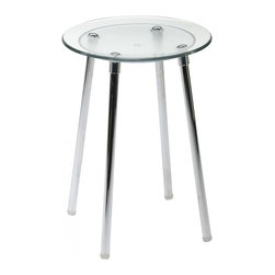 WS Bath Collections - Noni 5365KT Stool in Transparent - Noni 5365 by WS Bath Collections 11.8 Dia. x 16.5 Stool, Seat in Coloured Abs, Galvanized Chromed Abs, Transparent Polycarbonate, Legs in Stainless Steel, Screws in Chromed Steel, Slip-proof Feet
