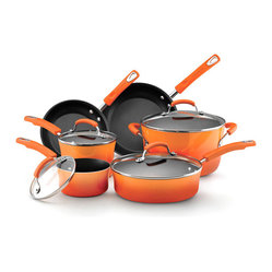 Rachael Ray Orange Porcelain II Nonstick 10-piece Cookware Set