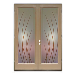 "Glass Doors - Frosted Glass Front Entry Doors - SLEEK BANDS W/ COLOR - Glass Front Entry Doors that Make a Statement! Your front entry door is your home's initial focal point and glass front doors by Sans Soucie with frosted, etched glass designs create a unique, custom effect while providing privacy AND light thru exquisite, quality designs!  Available any size, all glass front doors are custom made to order and ship worldwide at reasonable prices.  Exterior entry door glass will be tempered, dual pane (an equally efficient single 1/2"" thick pane is used in our fiberglass doors).  Selling both the glass inserts for front doors as well as entry doors with glass, Sans Soucie art glass doors are available in 8 woods and Plastpro fiberglass in both smooth surface or a grain texture, as a slab door or prehung in the jamb - any size.   From simple frosted glass effects to our more extravagant 3D sculpture carved, painted and stained glass .. and everything in between, Sans Soucie designs are sandblasted different ways creating not only different effects, but different price levels.   The ""same design, done different"" - with no limit to design, there's something for every decor, any style.  The privacy you need is created without sacrificing sunlight!  Price will vary by design complexity and type of effect:  Specialty Glass and Frosted Glass.  Inside our fun, easy to use online Glass and Entry Door Designer, you'll get instant pricing on everything as YOU customize your door and glass!  When you're all finished designing, you can place your order online!   We're here to answer any questions you have so please call (877) 331-339 to speak to a knowledgeable representative!   Doors ship worldwide at reasonable prices from Palm Desert, California with delivery time ranges between 3-8 weeks depending on door material and glass effect selected.  (Doug Fir or Fiberglass in Frosted Effects allow 3 weeks, Specialty Woods and Glass  [2D, 3D, Leaded] will require approx. 8 weeks)."