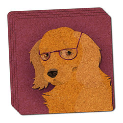 """Made on Terra - Dog Wearing Glasses Thin Cork Coaster Set of 4 - You're just cleaning up after your epic party when you realize it... something's different. Unlike all those other times, you're not mopping up cup condensation from your counters and tables. This time, everyone used a coaster. Everyone. Maybe it's because you handed out a coaster with every glass. No. You've tried that before. No, this time it's because of the actual coasters. You found the cutest Made On Terra printed cork coasters. You love that everyone commented on how unique they were,  from the light-weight, thin cork material to the printing that creates a cool and subtle effect. Plus, they're really absorbent, but dry quickly. And they're made from an eco-friendly, sustainable resource, so that makes you feel pretty great, too. Choose from Made on Terra's many fabulous cork coasters. Measures 4"""" x 4"""" x 1/8"""". Made of thin cork. Super cute and nicely absorbent. Sold in sets of four."""