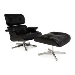 Vertigo Interiors USA - Special Edition Eames Style Lounge Chair & Ottoman - All Black & Black Leather - The Special Edition Eames Style Lounge Chair & Ottoman - All Black & Black Leather is made of premium Italian leather with chrome hardware.  The chair has a relaxed seating position and provides excellent lumbar support, making it the ideal lounge chair for any living room.