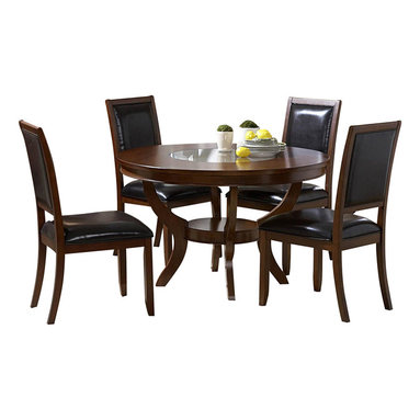 Homelegance - Homelegance Avalon 48 Inch Round Dining Table in Cherry - This clean-lined transitional casual dining takes its roots from the art deco era of the 1930's. The Avalon dining collection is both straight forward and dramatic. Excitement comes from its simple yet elegant rectangular leg table and two round table options, streamlined bowed fronts bunching china with tear drop drawer pulls and its matched veneer drawer front design. The dark brown bi-cast vinyl chair with style and durability makes a statement of its own. Constructed of maple veneers with select hardwoods in a contemporary low sheen cherry finish.