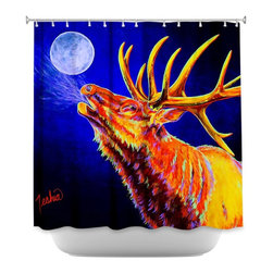 DiaNoche Designs - Shower Curtain - Teshia Bull Moon - Sewn reinforced holes for shower curtain rings. Shower Curtain Rings Not Included. Dye Sublimation printing adheres the ink to the material for long life and durability. Machine Washable. Made in USA.
