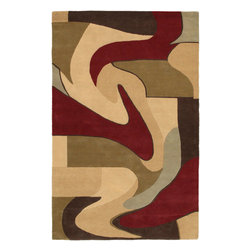 "Aviator Rug - 9'x13' - This rug was designed to fill the home with line, style, taste, and color. Hand made with 100% triple carded New Zealand wool with a plush 3/4"" pile and carved between colors for added texture."