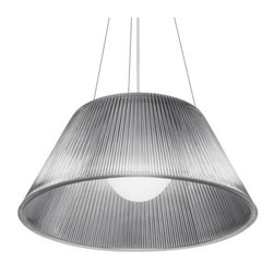 Flos Lighting - Romeo Moon S2 Pendant by Flos Lighting - Originally designed by Philippe Starck in 1996, the Flos Romeo Moon S2 Pendant diffuses a bright wash of downlight and overall sparkling ambient light through its etched internal White glass diffuser and widely flared, molded and fluted Clear glass shade. Also available with a narrower flare as the Romeo Moon S1 Pendant.FLOS Lighting, headquartered in Italy, provides innovative concepts and classic products through technical excellence and a high-quality approach to lamp design.The Flos Romeo Moon S2 Pendant is available with the following:Details:Flared-shaped, Clear glass shadeAcid-Etched internal glass diffuserSteel bodyCeiling canopyThree steel suspension cables157.4 in. cordUL ListedDesigned by Philippe StarckOptions:Lamping: Fluorescent, or Halogen.Lighting:Fluorescent option utilizes one 26 Watt 120 Volt Type G24q-3 Fluorescent lamp (included).Halogen option utilizes one 150 Watt 120 Volt Type A21 Medium Base Halogen lamp (not included).Shipping:This item usually ships within five business days.