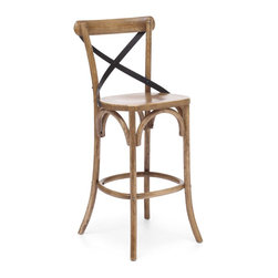 Zuo Modern - Zuo Modern 98021 Union Square Bar Chair Natural - Modeled after the most popular cafE chair in Europe, our versatile X-back bar chair comes in natural, antique black, and antique white. Frame is solid wood with antique metal accents.