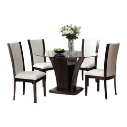 "Acme - 5-Piece Malik Collection White Leather-Like Upholstered Chairs and Dining Set - 5-Piece Malik collection white leather like upholstered chairs and espresso finish wood round dining table set with glass top. This set includes the Dining Table and 4 - side chairs in a white leather like upholstery. Table measures 54"" Dia. 10mm beveled glass top. Chairs measure 42"" H to the back. Some assembly required."