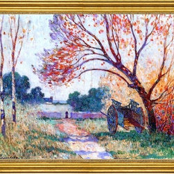 """Ferdinand Du Puigaudeau-18""""x24"""" Framed Canvas - 18"""" x 24"""" Ferdinand Du Puigaudeau A Cart by the Side of the Path framed premium canvas print reproduced to meet museum quality standards. Our museum quality canvas prints are produced using high-precision print technology for a more accurate reproduction printed on high quality canvas with fade-resistant, archival inks. Our progressive business model allows us to offer works of art to you at the best wholesale pricing, significantly less than art gallery prices, affordable to all. This artwork is hand stretched onto wooden stretcher bars, then mounted into our 3"""" wide gold finish frame with black panel by one of our expert framers. Our framed canvas print comes with hardware, ready to hang on your wall.  We present a comprehensive collection of exceptional canvas art reproductions by Ferdinand Du Puigaudeau."""