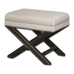 Uttermost - Uttermost Viera Small Bench in Sandy White - Small Bench in Sandy White belongs to Viera Collection by Uttermost Shimmery, sandy white woven tailoring features Teflon��_ fabric protector, silver nail accents and black crackled wood frame in solid white mahogany. Matching chair is item #23081. Bench (1)