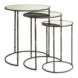 "IMAX CORPORATION - Flouressa Mirror Top Nesting Tables - Set of 3 - The layered look of nesting tables adds multiple surfaces and depth to any room. This set of three nesting tables feature mirrored tops and simplified tri-leg bases great for any transitional decor. Set of 3 in various sizes measuring around 27""L x 21.5""W x 21.5"" each. Shop home furnishings, decor, and accessories from Posh Urban Furnishings. Beautiful, stylish furniture and decor that will brighten your home instantly. Shop modern, traditional, vintage, and world designs."