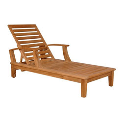"Anderson Teak - Brianna Sun Lounger w Arm - Unfinished - Luxuriate in beautiful weather with this outdoor lounger which features a frame made of solid teak, including its wheels.  Its back can be adjusted four ways, including completely flat.  Its sliding tray provides easy access to drinks that no one can knock over. * Adjusts to 4 different positions, including completely flat. With arms. Solid Teak wheels. Teak wood construction. Perfect for poolside reading in the sun. 80 in. L x 31 in. W x 14 in. - 24 in. H (67 lbs.)Our most popular piece, the Sun Lounger has been called by some, ""The most comfortable Sun Lounger they have ever relaxed in. "" With its solid Teak wheels, it can be easily moved in or out of the sun."