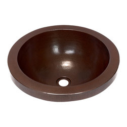 "Artesano Copper Sinks - Round Raised Profile Bathroom Copper Sink with Apron - Round Raised Profile Bathroom Copper Sink with Apron 17 x 6, apron is 1.5"", drain is 1.5"",rim is 1.5"", gauge 16, inside is 14 x 5.5"". The sink will sit 1.5"" high from the countertop"