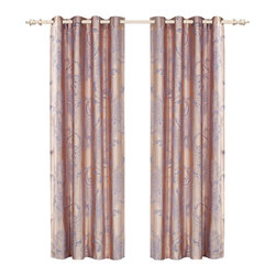Dolce Mela - Dolce Mela DMC465 Window Treatment Damask Drapes Pandora Curtain Panel - A luxurious and radiant design is presented on these drapes featuring elegant light steel-blue damask patterns on a corn-silk background to create a trendy decor.
