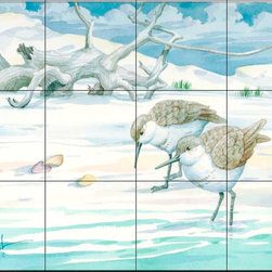 The Tile Mural Store (USA) - Tile Mural - Driftwood Sandpipers - Kitchen Backsplash Ideas - This beautiful artwork by Paul Brent has been digitally reproduced for tiles and depicts a couple of sandpipers at the beach.  Images of waterfowl on tiles are great to use as a part of your kitchen backsplash tile project or your tub and shower surround bathroom tile project. Pictures of egrets on tile, images of herons on tile and decorative tiles with ducks and geese make a great kitchen backsplash idea and are excellent to use in the bathroom too for your shower tile project. Consider a tile mural of water fowl for any room in your home where you want to add interesting wall tile.