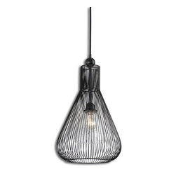 Uttermost - Calumet 1-Light Pendant - When your sense of style spans centuries, not decades, the right lighting makes all the difference. Achieve the coveted vintage industrial look with this caged pendant lamp. You'll get a beautifully dramatic atmosphere from the inner crackled-glass shade and the shadows from the black metal exterior.