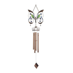 "GSC - 39"" Open Wing Butterfly Copper Toned Wind Chime with Hanging Square - This gorgeous 39"" Open Wing Butterfly Copper Toned Wind Chime with Hanging Square has the finest details and highest quality you will find anywhere! 39"" Open Wing Butterfly Copper Toned Wind Chime with Hanging Square is truly remarkable."