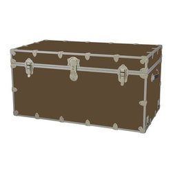 Rhino - Toy Trunk - Mocha (Large) - Choose Size: LargeWheels are not included. Includes two nickel plated steel universal wheel adapter plates. Wheel adapter plates mounted on side of the trunk. American craftsmanship. Several obscure ventilation holes to provide plenty of air should your child ever go into the trunk and have someone close it on them. Strong hand-crafted construction using both old world trunk making skills and advanced aviation rivet technology. Steel aircraft rivets are used to ensure durability. Heavy duty proprietary nickel plated steel latches and hardware. Heavy duty nickel plated steel lid hinges plus lid stays for keeping lid propped open. Tight fitting steel tongue and groove lid to base closure to keep out moisture, dirt, insects, odors etc.. Stylish lockable nickel plated steel trunk lock has loop for attaching padlock. Discrete ventilation holes. Special soft-close lid stay. Nylon cordura exterior laminate. Lifetime warranty. Made from 0.38 in. premium grade baltic birch hardwood plywood with nickel-plated steel hardware. Large: 32 in. W x 18 in. D x 14 in. H (29 lbs.). Extra large: 36 in. W x 18 in. D x 18 in. H (36 lbs.). Jumbo: 40 in. W x 22 in. D x 20 in. H (67 lbs.). Super jumbo: 44 in. W x 24 in. D x 22 in. H (69 lbs.)Safety First! A superior quality, heavy-duty toy trunk that¢s designed for a child¢s well-being, yet looks handsome in any room. Toy Trunk is constructed from the highest quality components. This treasure chest incorporates several safety features to insure that it¢s child friendly. Those include small ventilation holes should a child ever decide to climb in and take a nap, as well as specially designed, American made soft-close lid stays. The lid stays keep the lid from slamming shut. In fact, the lid will only close if you push it down. This will keep small hands protected. Also, the toy trunk will not lock on its own. Toy Trunk are conveniently sized and ruggedly built. They¢re strong enough to stand on! Best of all, these advanced design wheels do not add any extra height to the trunk. Even with the wheels on, the trunk is stackable.