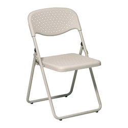 Office Star - Work Smart FC Series FC8000NBG-11 Folding Chair with Beige Plastic Seat and Back - Folding chair with beige plastic seat and back and beige frame. (4 pack)