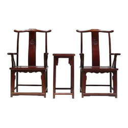 Golden Lotus - Chinese Huali Rosewood Yoki-back Armchair Set - This is a set of decorative chairs for home decoration and heritage collection. Its style is simple, but the chair expresses the Asian elegant fusion easily with the good combination of wood and the design. Like the Huali rosewood used in this set.