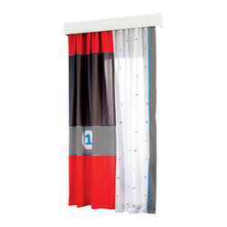 "Cilek - Racer Panel Curtain - This panel curtain is part of the ""Need for Sleep"" edition of Turbo Beds. Beautifully crafted by Cilek, this white, red and blue curtain can be a great addition to the Turbo Beds themed bedroom. Astonishing details and vibrant color."