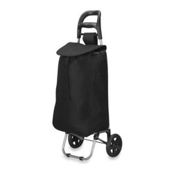 Household Essentials/real Simple - Household Essentials Medium Rolling Shopping Cart in Black - This freestanding shopping cart makes transporting groceries and other items a breeze. It features two, easy-roll wheels, a front stabilizer bar, comfort-grip pull handle, and a durable nylon bag with quick-release closure and a handy outside pocket.