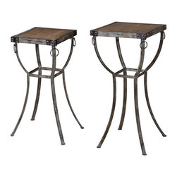 Uttermost - Uttermost 24313  Hewson Plant Stands Set/2 - Old world, rustic metal pedestals with rivet and ring details and deep grained, natural wooden tops. sizes: sm-12x26x12, lg-16x32x16