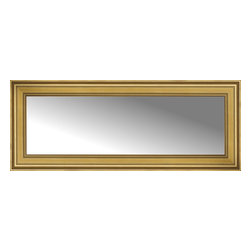 "Posters 2 Prints, LLC - 54"" x 22"" Arqadia Gold Traditional Custom Framed Mirror - 54"" x 22"" Custom Framed Mirror made by Posters 2 Prints. Standard glass with unrivaled selection of crafted mirror frames.  Protected with category II safety backing to keep glass fragments together should the mirror be accidentally broken.  Safe arrival guaranteed.  Made in the United States of America"