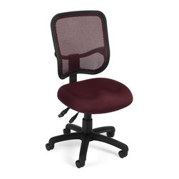 OFM - OFM Mesh Comfort Series Ergonomic Task Chair in Wine - OFM - Office Chairs - 130A03 - Get contemporary style and all-day comfort with OFM's Modern Mesh Ergonomic Task Chair 130. The back features built-in lumbar support and breathable mesh gives long-term comfort. Plus the mesh and seat fabric are it stain resistant so the chair keeps its
