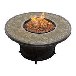 "Agio - Agio Balmoral 48"" Round Porcelain Top Fire Pit - The Agio Balmoral Gas Fire Pit is a perfect way to enhance you backyard! It is a beautiful addition to any living space, without compromising your budget. The round shape of this elegant fire pit blends seamlessly with any decor, and it will be a great place for your guests to gather! The Balmoral Fire Pit Table produces up to 40,000 btu's.  Hidden Control Panel - High / Medium / Low. Electronic Ignition. All-weather porcelain tile reminiscent of Old World Stone. Lava rock, glass beads or logs can be purchased separately."