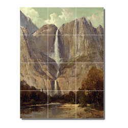 Picture-Tiles, LLC - Bridle Veil Fall Yosemite Tile Mural By Thomas Hill - * MURAL SIZE: 48x36 inch tile mural using (12) 12x12 ceramic tiles-satin finish.