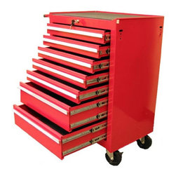 Excel - Excel 26 in. 7 Drawer Roller Tool Cabinet with Raised Handle - TB-2080BBS-B RED - Shop for Cabinets from Hayneedle.com! Organize on-the-go with the sturdy reliable Excel 26 in. 7 Drawer Roller Tool Cabinet with Raised Handle. A wise choice for the serious tool man this mobile tool cabinet has seven drawers - five small and two large - to help you sort tools screws and more. The cabinet is constructed with 18-gauge steel and comes in a red or black powder-coat finish that's scratch- and chemical-resistant. Drawer Dimensions: Top 5 Drawers: 22.4W x 16.3D x 2.9H inches Bottom 2 Drawers: 22.4W x 16.3D x 6.0H inches About Excel InternationalExcel International is comprised with a team of highly trained engineers and an elite team of designers. Our engineers have access to the most advanced software and cutting edge equipment. Each of our products is designed and manufactured from the ground up and passes through the most stringent quality-control procedures.