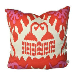 "Oomph Kazak Pillow in Orange - Our very, very favorite. Kazak - a beautiful combination of orange and pale magenta on linen with a white linen basket weave back. Snazzy sophistication defined in a 22"" square! A sumptuous statement pillow from our quadrille collection - need we say more? Insert: 90/10, feather and down with zipper for easy cleaning. 55% linen- 45% cotton. Made in USA - 22"" square"