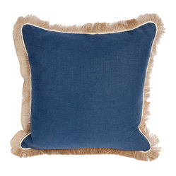 Lacefield Designs Navy Linen Jute Fringe Pillow