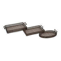 iMax - iMax Urban Iron Trays - Set of 3 X-3-51801 - Unique, transitional set of 3 iron trays.