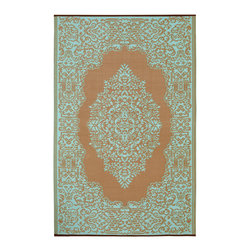 None - Prater Mills Indoor/ Outdoor Reversible Aqua/ Taupe Rug - Provide beautiful coverage for your flooring no matter where its located with this plastic indoor/outdoor rug. The recycled plastic of the rug provides the strength and durability needed for the outdoors,making this great for pool or deck use.