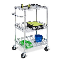 3-Tier Chrome Hd Urban Rolling Cart - h.d 3 shelf rolling utility cart, 400lbs with casters. nsf certified; 30in h x 24in w x 18in d.( 101 3/5 x 60 8/9 x 45 7/10cm) has 4 4in casters,(2-locking) shelves are adjustable in height. 2-bottom shelves are baskets with 4in high ledge. has 1in dia x 4in deep handle.