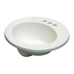 PREMIER - Lavatory Sink Drop in Cultured Marble Round - Features: