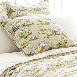 Pine Cone Hill - water lily sham - Enjoy the arts-and-crafts feel of our farmer's market bedding collection featuring charismatic bursts of color softened by traditional patterns. A bright and cheery mellange of vintage and modern with classic sensibility, this collection mixes soft florals and plush textures to lend a traditional look and feel to decorative pillows, shams and bed skirts. Charming bedspreads and throw blankets finish the bed with casual sophistication.
