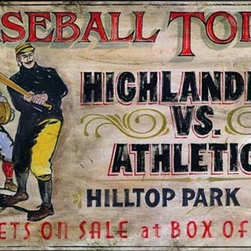 Red Horse Signs - Nostalgic Vintage Signs Baseball Today Primitive Sports Sign - Nostalgic  Vintage  Signs  -  Baseball  Today  -  Primitive  Sports  Sign          Enthrall  sports  fans  with  this  nostalgic  vintage  baseball  sign  hanging  in  your  rec  room.  Printed  on  real  distressed  wood  and  customizable  to  display  your  favorite  team  name,  this  sign  is  available  in  2  sizes:  14x24  and  20x32.  Please  specify  team  names  to  replace  Highlanders  vs.  Athletics  on  order.  Existing  wording  reads  as  follows:  Baseball  Today.  Highlanders  vs.  Athletics.  Hilltop  Park  1  P.M.  Tickets  on  Sale  at  Box  Office.  This  is  the  perfect  gift  for  the  baseball  fan  who  has  everything.  Please  allow  up  to  three  weeks  for  delivery.          Product  Specifications:                  Vintage  Look              14  x  22              Printed  on  distressed  wood              Customizable              Available  in  2  sizes              Baseball  theme