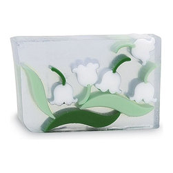 Primal Elements - Lily of the Valley 6.0 oz Bar Soap in Shrinkwrap - Sweet Lily of the Valley is a classic floral fragrance enhanced with notes of lilac and jasmine. Sight, smell, shape and feel have become the trademark of Primal Elements soaps. The colors and shapes coordinate with unique scents for a beautifully fragrant presentation; all soaps contain vegetable glycerin, which moisturizes the skin with a luxurious lather that rinses cleanly away. We use pure essential oils and popular fragrance oils for optimum fragrance.