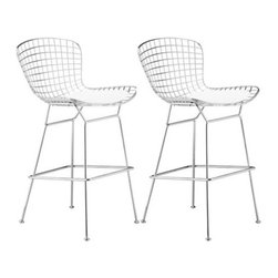 Wire Chrome Modern Set of Two Zuo Bar Chairs- Frame Only -