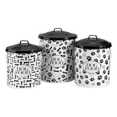 iMax - Dog Food Storage Canisters, Set of 3 - This set of three storage canisters are great for storing dog food and treats. The lidded design keeps food fresh. Set includes small, medium and a large size.