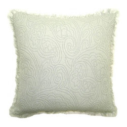 Squarefeathers - Zen, Floral Pillow - A peaceful pillow collection that will cause your mind to go in a state of relaxation! Made of cotton and has a silk rayon velvet back with a lash trim. It has a soft and pump feataher/down insert inclosed with a zipper. Like all of our products, this pillow is handmade, made to order exclusively in our studio right here in the USA.
