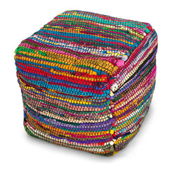 Bali Multicolored Pouf - Colorful worldly beauty that's inspired by green thinking: The Bali Multicolored Pouf is fashioned from 100 percent recycled Sari silk from India. Wonderfully textured and soft to the touch, the square-shaped pouf is a welcome spot for resting your feet or inviting guests to take a seat.