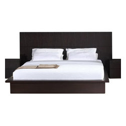 Beverly Hills Furniture Inc. - Anchor Modern Platform Bed in Wenge, King - The Anchor Modern Platform Bed is finished in Wenge. Clean lines and geometric lines give a visually interesting look to bed.