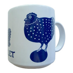 Taylor and Ng - French Le Poulet (Chicken) Mug - Vintage French series Le Poulet (Chicken) in a Blue design on a White 11 oz Ceramic mug. Dishwasher, microwave safe. Le Poulet (Chicken) mug. Vintage French Mugs collection. Stackable for easy storage. 3.25 in. L x 3.25 in. W x 3.5 in. H